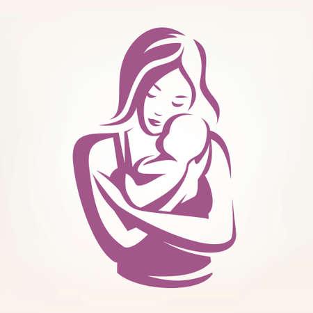stilisiertes Vektorsymbol der Mutter und des Babys, Kinderbetreuungslogoschablone