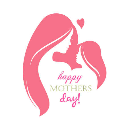 happy mothers day greeting card template, stylized symbol of mom and baby Stock Illustratie