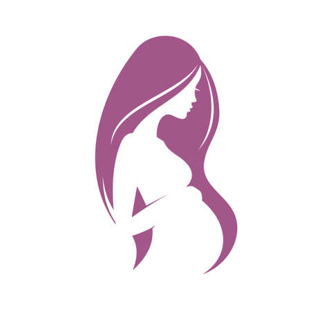 pregnant woman stylized vector silhouette Stock Illustratie