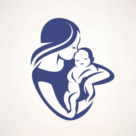 mother and baby stylized vector symbol, mom kiss her child logo template Banque d'images - 107306522