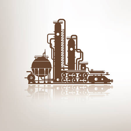 chemical, petrochemical or processing plant, heavy industry stylized vector symbol, design elements for emblem