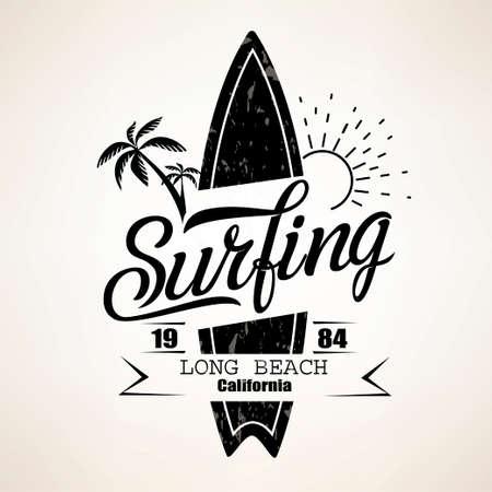 Modèle d'emblème de surf, silhouette de planche de surf avec lettrage