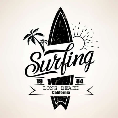 Surfing emblem template, surfboard silhouette with lettering Vectores