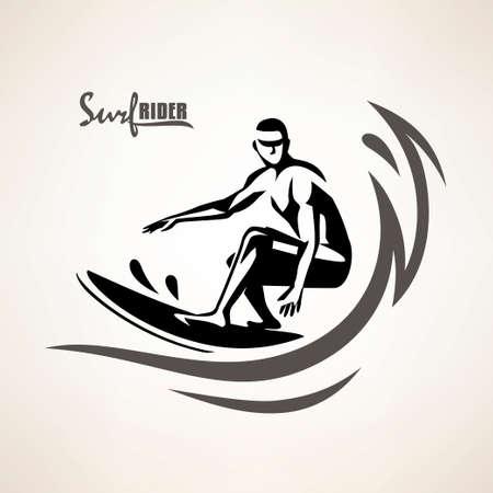 símbolo de jinete de surf, plantilla de impresión, silueta vectorial estilizada de surfista Ilustración de vector