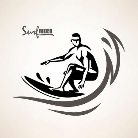 simbolo del surfista, modello di stampa, silhouette stilizzata di vettore del surfista Vettoriali