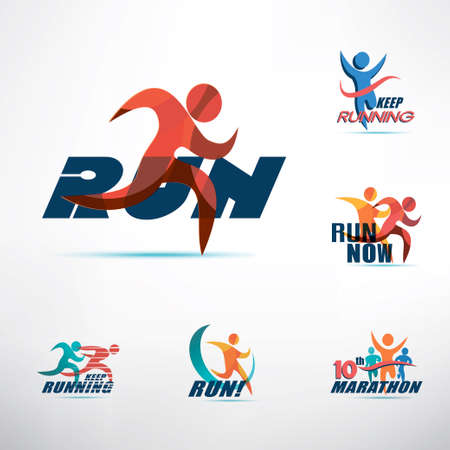 running people logo template, stylized symbols collection, sport and activity concept Banco de Imagens - 109499212