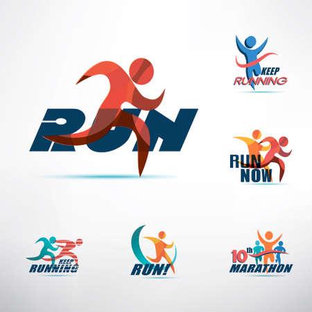 Plantilla de logotipo de personas corriendo, colección de símbolos estilizados, concepto de deporte y actividad