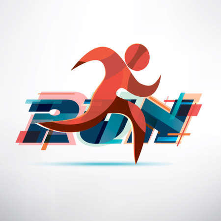 running people logo template, sport and activity concept