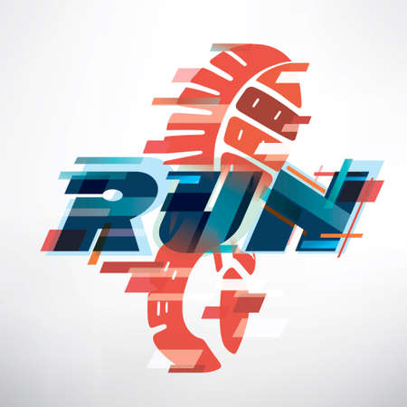 stylized snickers stamps on the ground, sport and runing competiotion backgound, logo template