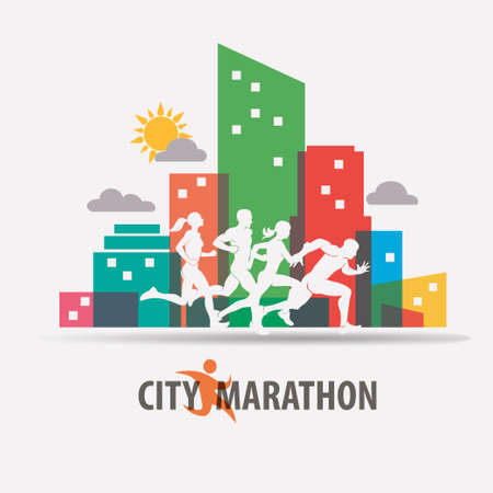City marathon stylized vector background, running people silhouettes