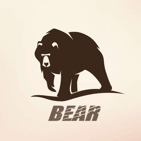 bear stylized vector silhouette, logo template