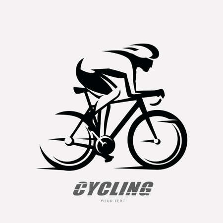 cycling race stylized symbol, outlined cyclist vector silhouette Banque d'images - 110200861
