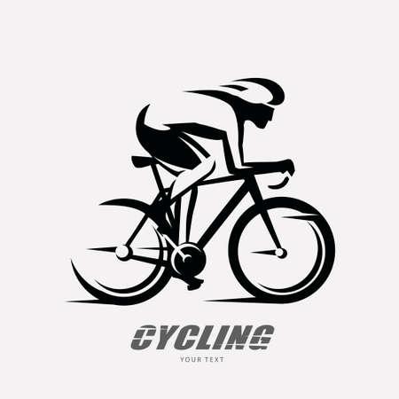 Símbolo estilizado de la carrera ciclista, silueta de vector de ciclista esbozado