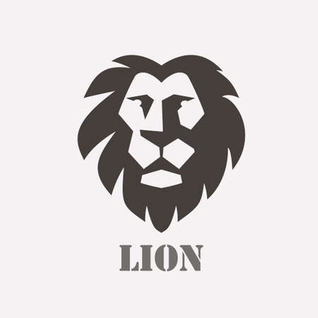Lion face stylized vector symbol, logo or label template