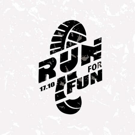 Run-Symbol im Grunge-Stil, Marathon-Symbol, Poster und Logo-Vorlage