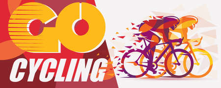 Cycling race stylized background with motion color effects of tirangle splints, poster template Stock Illustratie