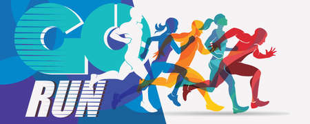 running people set of silhouettes, sport and activity  background, poster template Stock Illustratie