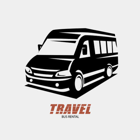 mini van outlined sketch, isolated vector symbol, micro bus stylized symbol