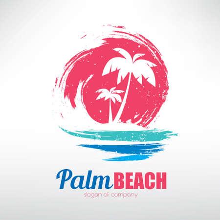 Seelandschaft mit Palmen auf Insel- und Meereswellen, stilisiertes Vektorsymbol