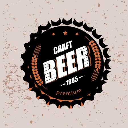 beer cap stylized vector symbol, emblem brewery design logo or emblem template Stock Illustratie