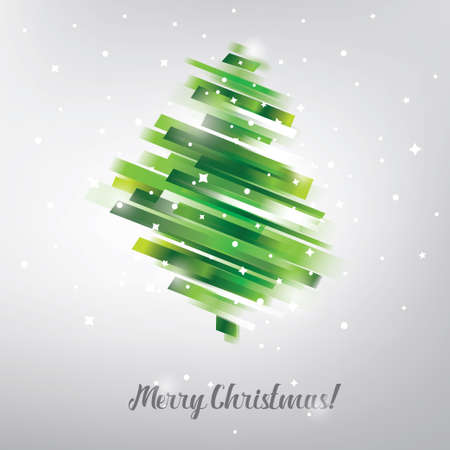 christmas tree in modern vibrant style symbol, greeting card template Stock Illustratie