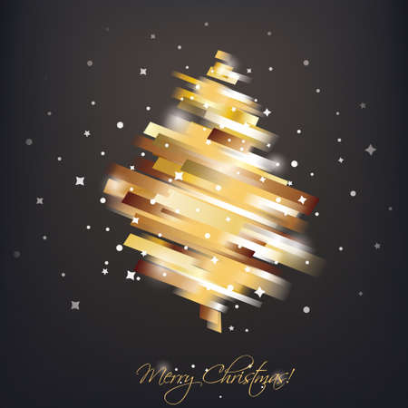 golden christmas tree in modern vibrant style symbol, greeting card template