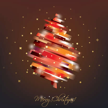 red christmas tree in modern vibrant style symbol, greeting card template