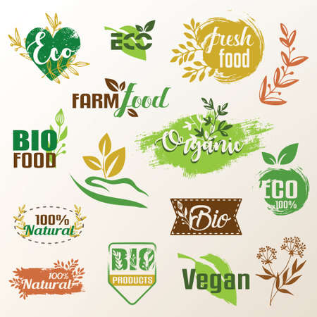 bio, eco products label collection, set of emblems or stamp template