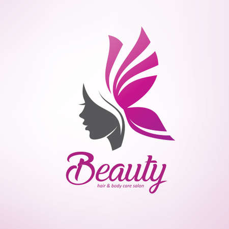 womans hair style stylized sillhouette, beauty salon logo template Stockfoto - 120385437