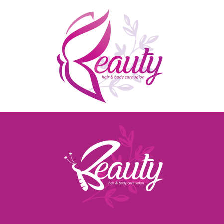 beauty logo template with butterfly, stylized lettering emblem of hair and body care salon