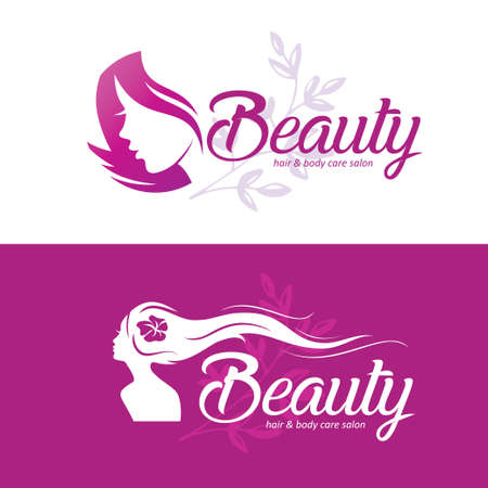 womans hair style stylized sillhouette, set of beauty salon logo template
