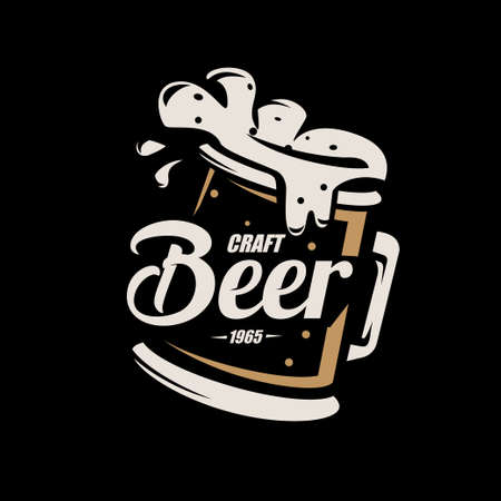 Beer mug, stylized vector symbol in retro style, logo template