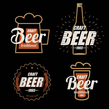 Beer logo template collection, set of emblems on dark background Stock Illustratie