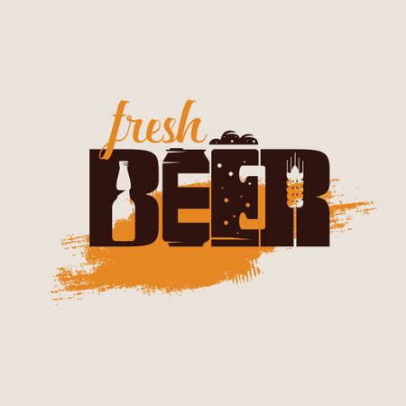 Beer text logo or emblem template, stylized vector symbol