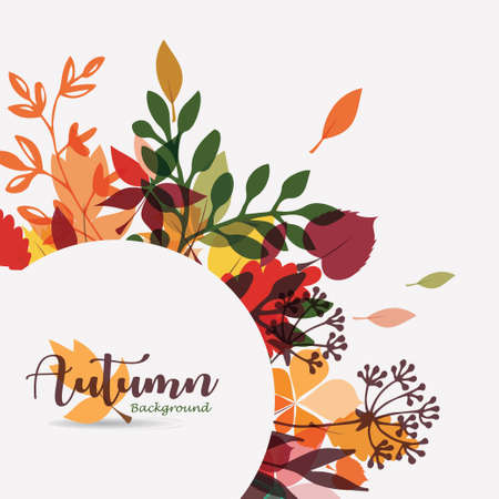 autumn leaves stylized background, autumn seasonal circle frame template