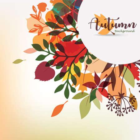 autumn leaves stylized background, autumn seasonal circle frame template