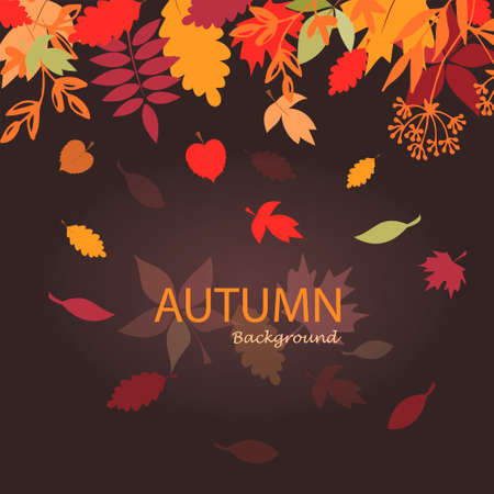autumn leaves stylized background, autumn seasonal banner template Stock Illustratie