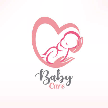 baby sleeping in hands, baby care stylized vector symbol