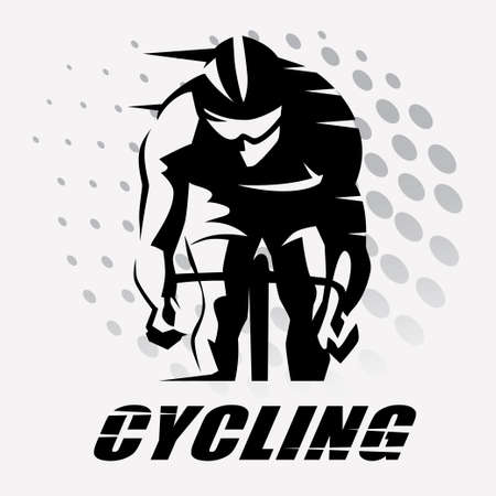 cycling race stylized symbol, outlined cyclist vector silhouette