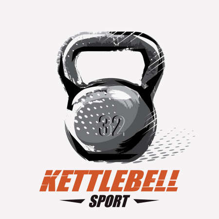 kettlebell stylized vector symbol in grunge style, weight lifting concept