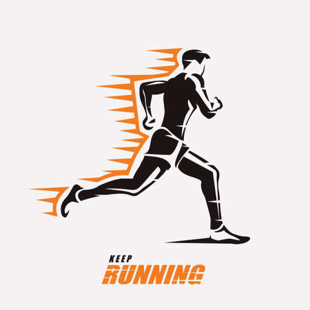 running man vector symbol, outlined stylized silhouette, sport and activity concept Stock Illustratie