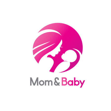 mom and baby in stylized symbol, logo or emblem template