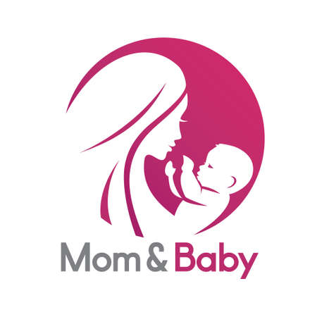 mom and baby in stylized symbol, logo or emblem template Stockfoto - 121881128