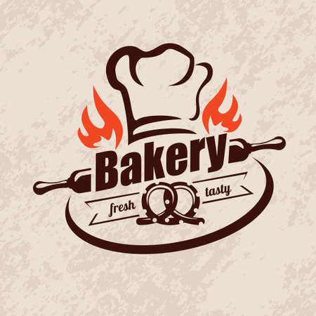 bakery stylized vector emblem or label in retro style, logo template