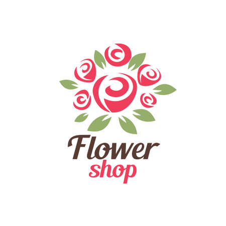 flower shop logo template, stylized vector symbol of rose bouquet