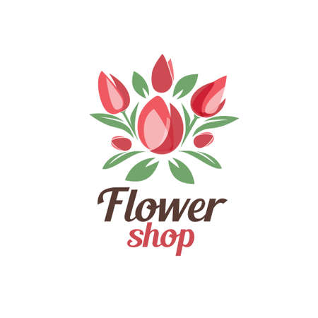 flower shop logo template, stylized vector symbol of tulip bouquet