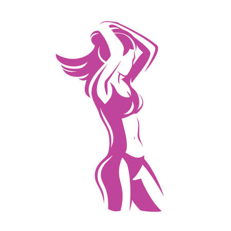 fitness womans body stylized vector silhouette
