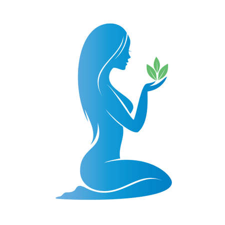 beautiful woman holding a plant ina a palm, heath care concept Stock Illustratie
