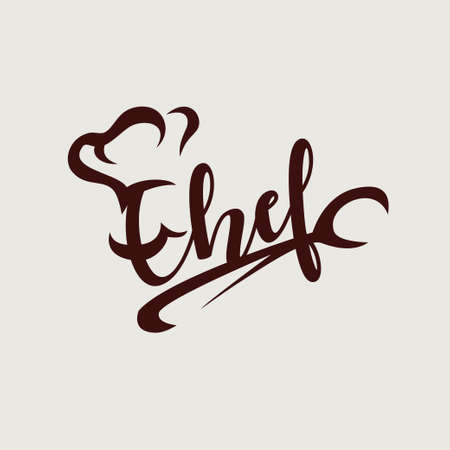 chef textual logo or emblem template, lettering, cafe and restaurant concept