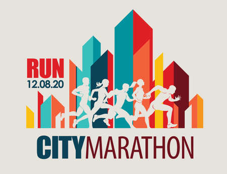 city marathon poster template, running people set of silhouettes, sport and activity  background